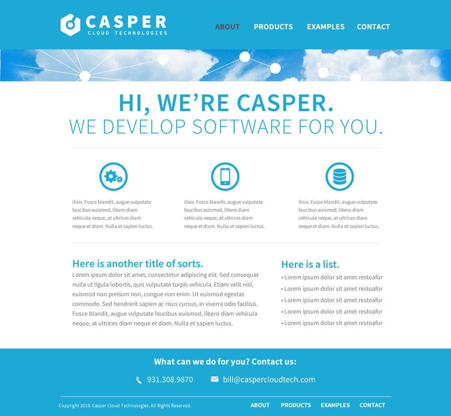 Casper desktop layout
