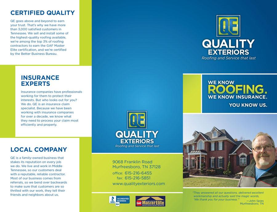 QE trifold brochure design